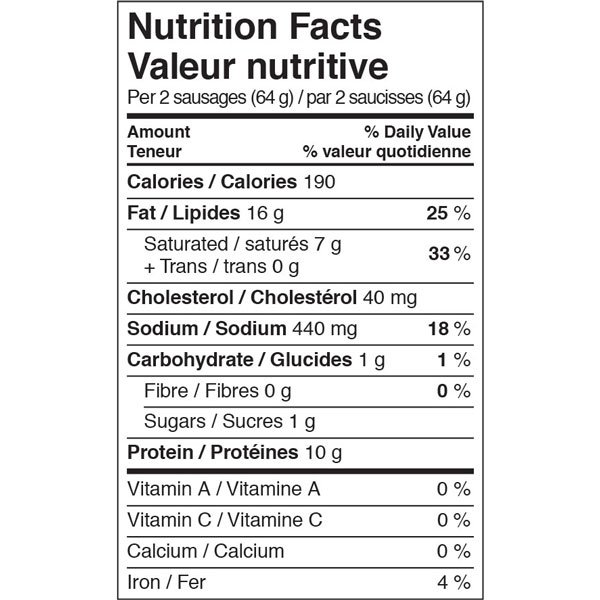 Organic Country Maple Pork Breakfast Sausages - Nutrition Facts